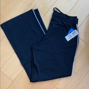 NWT Black Cotton Track Pants with White Piping